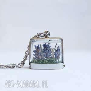 lawendowy las - naszyjnik, mech, mały, medalion, lawenda
