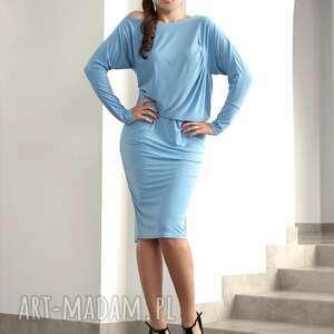 sukienki asymetryczna z marszczeniem, rozm 36, sukienka, dzianina, asymetryczna