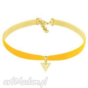 choker - primrose yellow velvet lavoga - trójkąt, aksamit