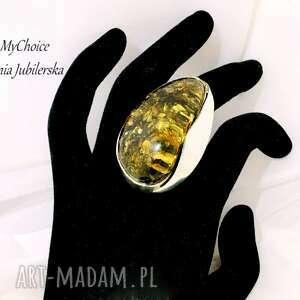 unikatowy srebrny 925 pierścionek z bursztynem, bursztynem