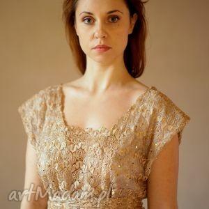 sukienki złota koronka, sukienka, wieczorowa, elegancka, koronkowa, złota