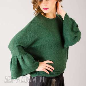 zielony ciepły sweter z wełny, ciepły, sweter, szmaragdowy, wełniany, wełna