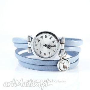 ręcznie robione zegarki bransoletka, zegarek - jeleń 3 skórzany, jasno