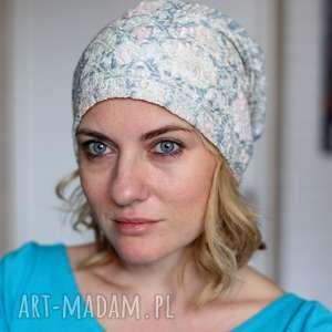 koronkowa pastelowa czapka handmade, czapka, koronka, dzianina, etno, choroba, boho