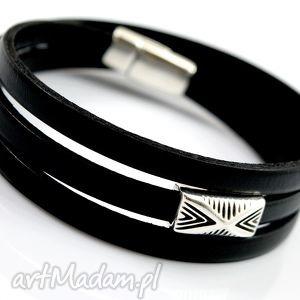 handmade bransoletka skórzana magnetoos triple vario black
