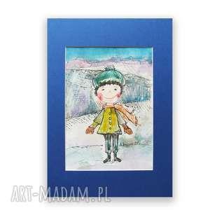 Obrazek z chłopcem, chłopczyk akwarela, ilustracja dla dzieci, ręcznie malowany