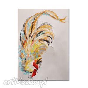 kogut, obraz na zamówienie dla p elżbiety, obraz, ręcznie, malowany