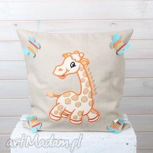 poszewka na poduszkę z żyrafą dla dziecka - poszewka, poduszka, dżinsowa