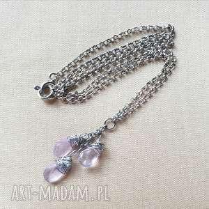 naszyjnik ze srebra i ametystu - srebro, oksydowane, lekki, kobiecy, delikatny
