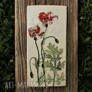 obrazek na desce maki, decse, kwiaty polne, maki obraz