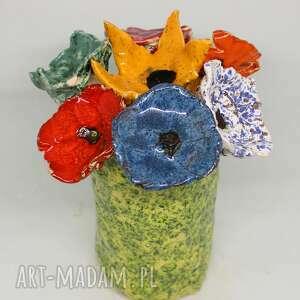 duży komplet kwiaty ceramiczne i wazon handmade flower box