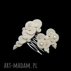 komplet ślubny soutache midiro ivory, ślubny, esksluzywny, soutache, sutasz, zestaw,
