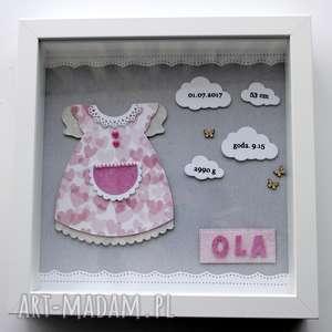 metryczka dla dziewczynki - sukieneczka - metrzyczka, prezent, chrzest, narodziny, roczek
