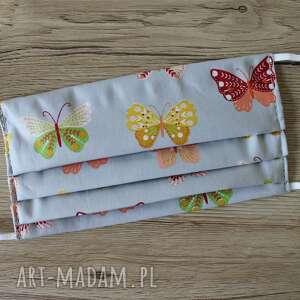 maseczka bawełniana - motylki na szarym tle, maska, maseczka, maseczki, kolorowe
