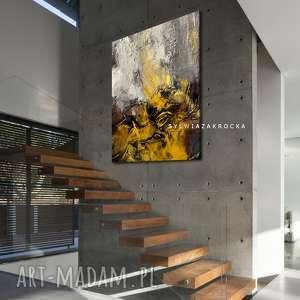 musztardowo mglista abstrakcja obrazy do salonu nowoczesnego, musztardowa