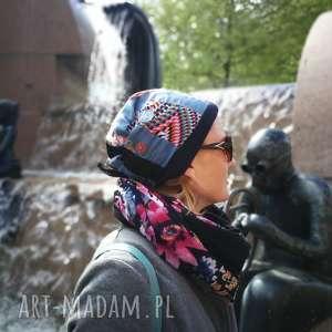 czapka damska dzianina tkanina patchwork, etno, boho, czapka, rower, joga, kwiaty