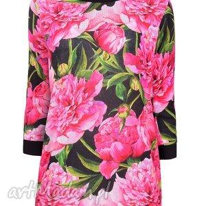 Sweterek Peonia S/M,L/XL, kwiaty, peonie, print, nadruk, dzianina