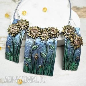 Słoneczniki - komplet biżuterii zawieszka i kolczyki długie