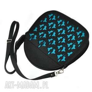 na ramię jojo - kuferek pasku czarny z turkusem, jojo, filcowy, filc