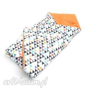 BECIK OTULACZ ROŻEK MINKY kolorowe trójkąty / pomarańczowy, rożek, becik, otulacz