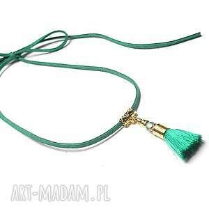 Choker - emerald /chwost/ naszyjnik, choker, chwost, boho, wiązany, swarovski
