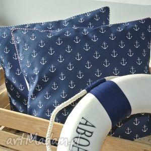 Poszewka na poduszkę w stylu marine - kotwice, poduszka, marine, marynistyczny