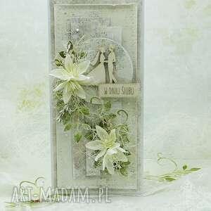 Kartka ślubna z młodą parą vol 6 w pudełku scrapbooking kartki