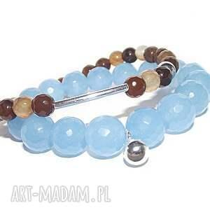bransoletki srebrna kuleczka w błękicie, bransoletka, walentynki, kamienie, srebro