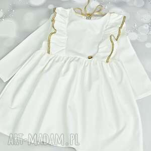 sukienka ecru z falbanka i zlota koronka, zlotasukienka, sukienkazfalbanka