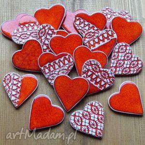 Prezenty dla gości - serduszka ceramiczne na magnes ślub