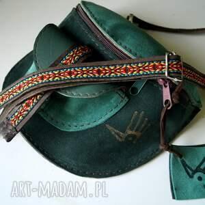 skórzana nerka odcienie zieleni aztecka, folk, torebka na pas