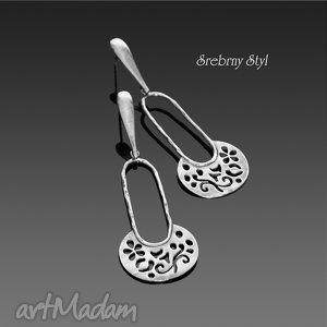 srebrny-styl ażurowe koszyczki, oksydowane, ornament, lekkie