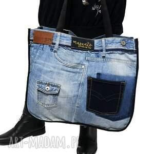 ręcznie robione na ramię duża torba upcykling jeans jack & jones