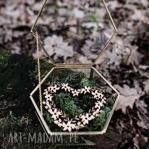 szklana szkatułka na obrączki z mchem sercem, ślub, pudełko obrączki, rustykalne