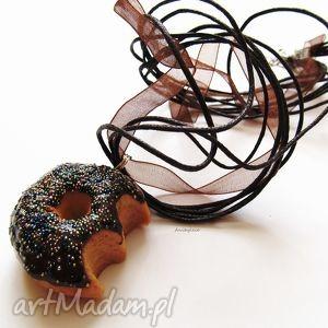 ugryziony donut naszyjnik, donut, ciastko, modelina, masa, fimo, święta