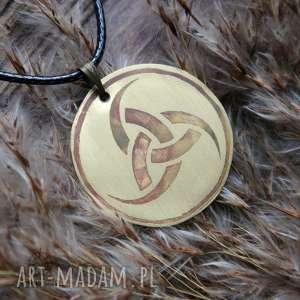 wisior z trawionej miedzi - trójróg odyna 029 - wikingowie, odyn, runy