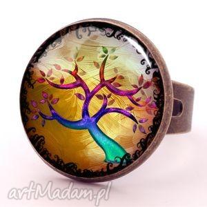 kolorowe drzewo - pierścionek regulowany, biżuteria, romantyczna