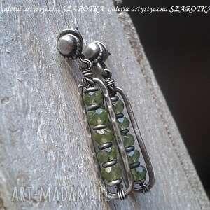 w zieleni kolczyki z oliwinu i srebra