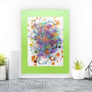 kolorowa abstrakcja wykonana ręcznie, abstrakcyjna grafika do salonu, nowoczesny