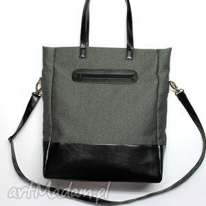Prezent Shopper Bag - tkanina szara i skóra czarna, elegancka, nowoczesna, praktyczna