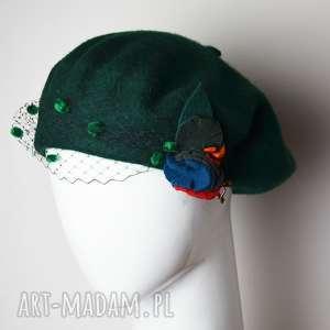 ZIELONY BERET, beret, zielony, woalka