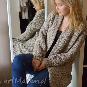 handmade swetry beżowy kardugan zamówienie p. justyna
