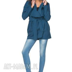 płaszcze jesienny płaszczyk z flauszu t216, morski, płaszczyk, jesienny, flausz
