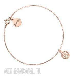 bransoletka z ozdobną zawieszką różowego złota, łańcuszek, delikatna, kulka