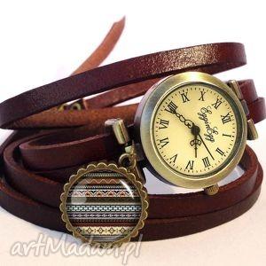aztecki zegarek bransoletka na skórzanym pasku - skórzana, azteckie