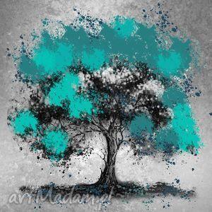 drzewo turkusowe 2 - 80x80cm obraz xxl na płótnie, obraz, szary, turkus dom