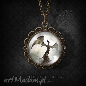 medalion, naszyjnik - smok cienia antyczny brąz, naszyjnik