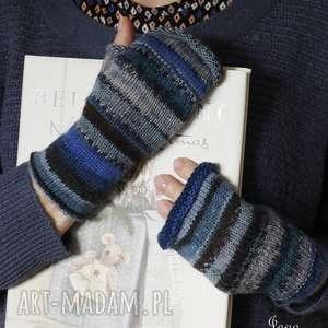 mitenki w odcieniach niebieskich - mitenki, rękodzieło, druty, wełna