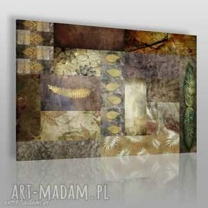 obraz na płótnie - liście beż brąz 120x80 cm 46301, liście, jesień, natura, mozaika