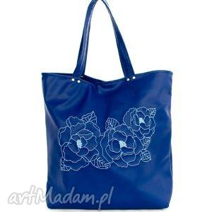Torba skaj, niebieski kwiat, torba, haft